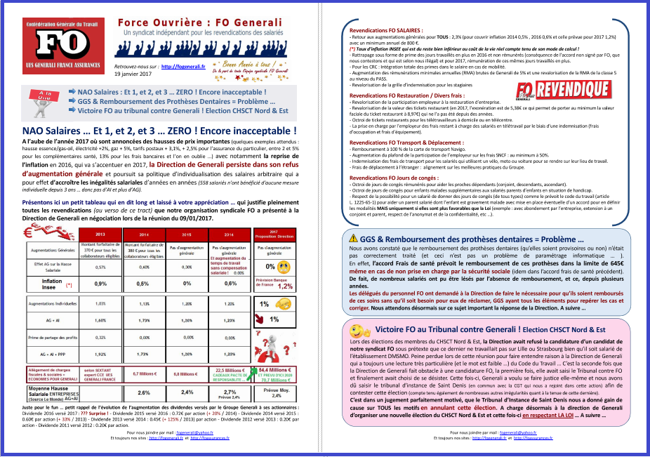 Tract FO Generali : NAO Salaires, GGS Remboursements dentaires, Victoire FO au tribunal contre Generali ! dans 1 - Revendications tract-fo-generali-19-01-17